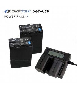 Pack 2 DGT-U75 + Dual Charger Digitex (Compatible with Sony BP-U70 and BP-U60)